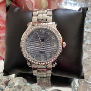 Men's bling iced out silver flashy cuban watch